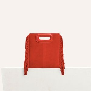 Maje Red Mini Fringed Suede Cross-body Bag